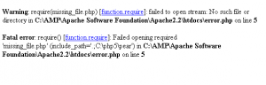 error in php require function