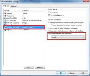 vmware custom network adapter custom adapter displayed