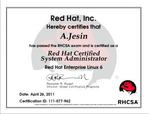 RHCSA certificate