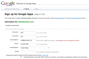 google apps setup step2