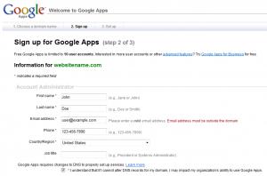 google apps setup step2