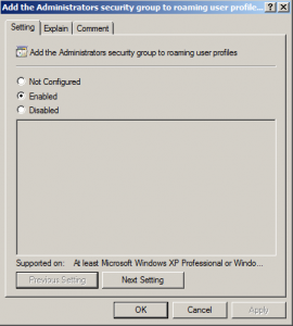 roaming profile group policy