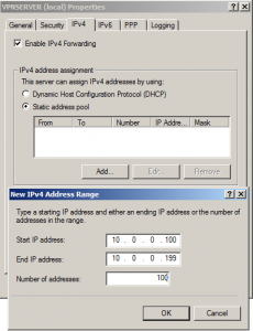 RRAS static address pool