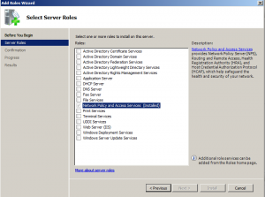 select network policy and access server role