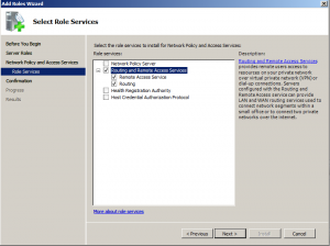 select network policy and access server role services