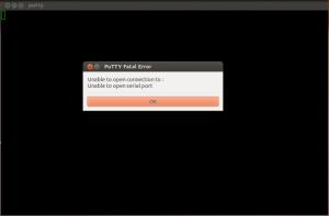 putty serial port error