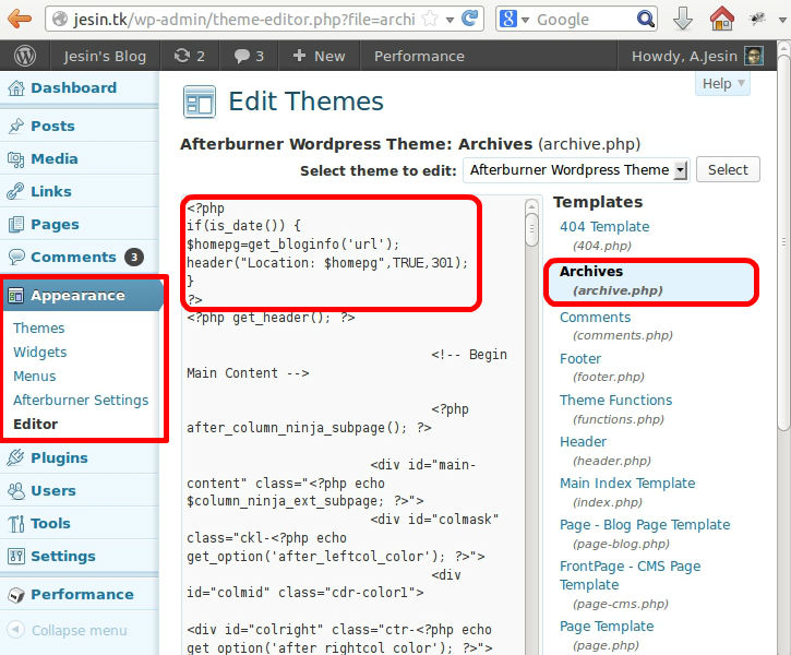 Redirecting wordpress archives to a page jesin 39 s blog for Editing wordpress templates