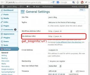 wordpress get_bloginfo url