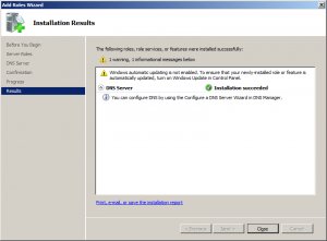 add server roles dns installation complete