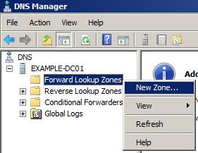 create new forward lookup dns zone