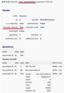recursive dns response