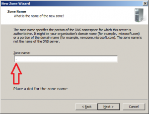 dns zone name root