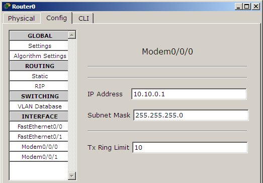 assign ip modem interface router