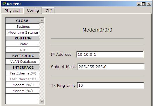 assign ip modem interface router