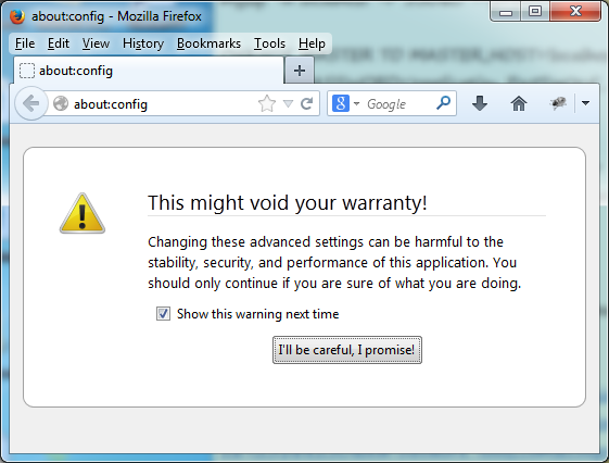 firefox 23 about config warning