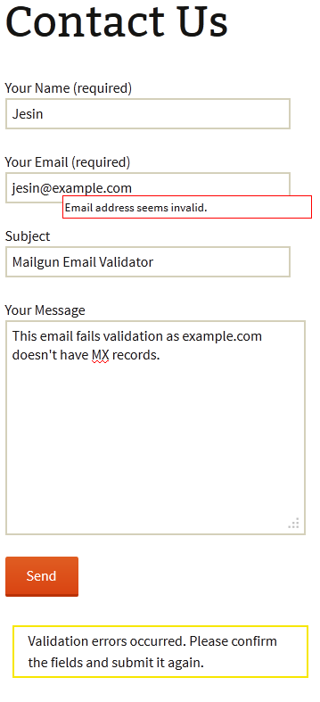 mailgun email validator contact form validation