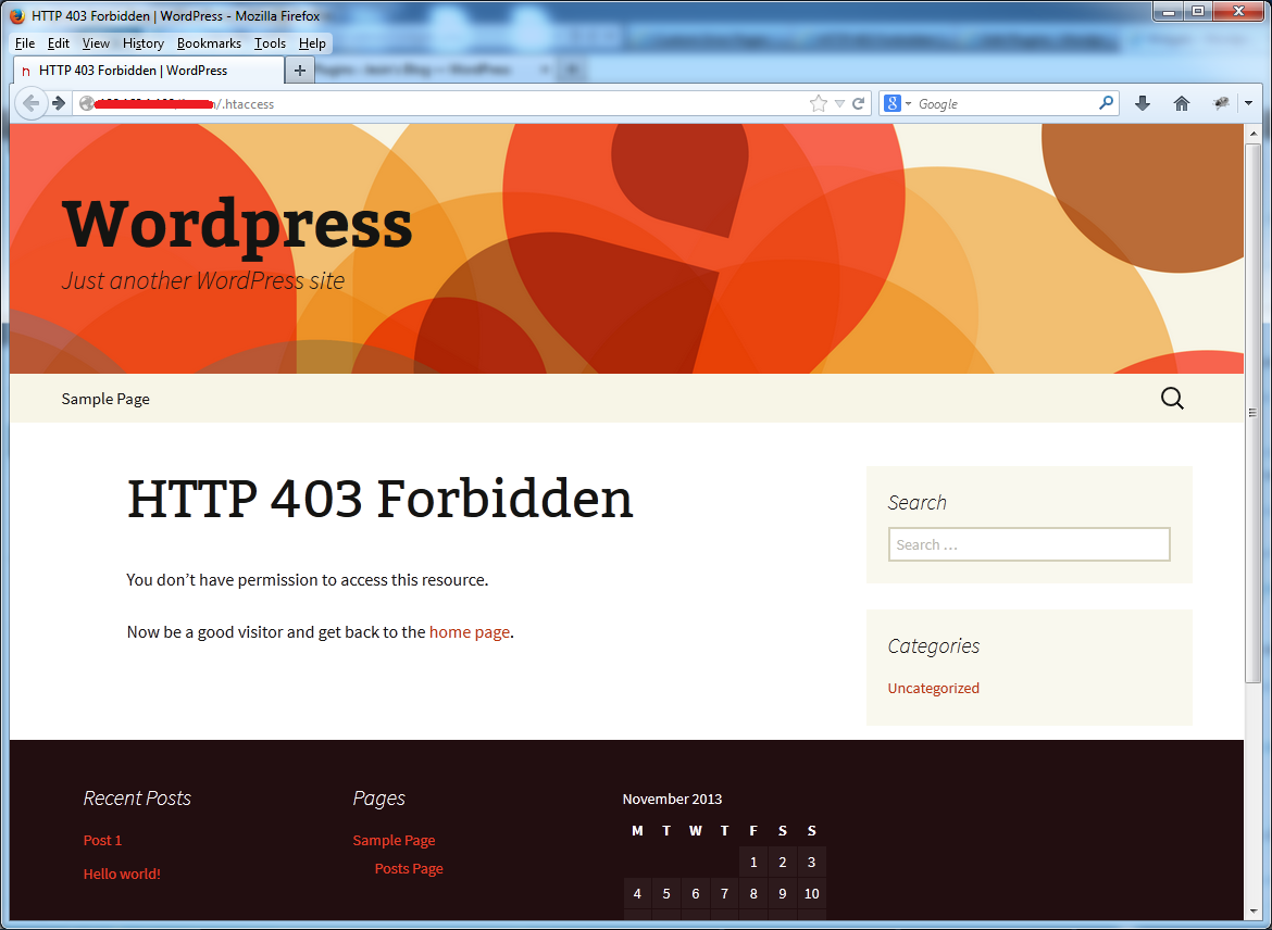 custom error pages 403 twentythirteen