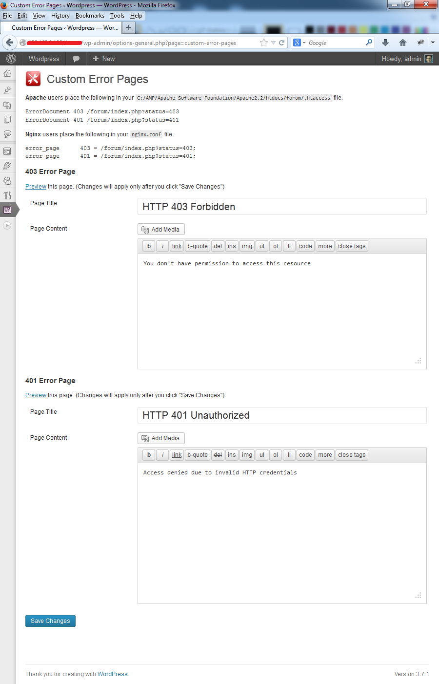 custom error pages admin options