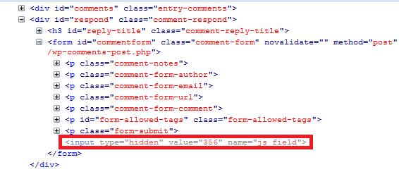 wordpress comment spam javascript